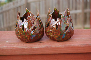 Maple Leaves Ceramic Votive Candle Holders, Set of 2