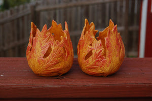 Autumn Leaves Ceramic Votive Candle Hootive Holders, set of 2