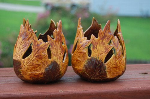 Autumn Leaves Ceramic Votive Candle Holders, set of 2