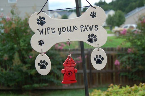 "Handcrafted Ceramic ""Wipe Your Paws"" Wall Plaque"