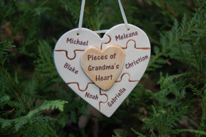Pieces of Grandma's Heart Handcrafted Porcelain Puzzle Heart