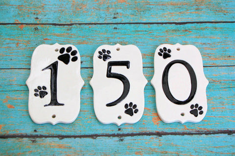 Paw Print Address Numbers