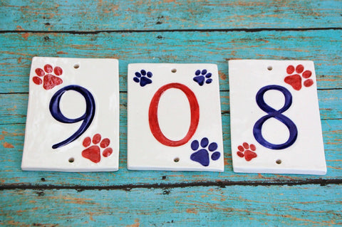 Paw Print House Numbers