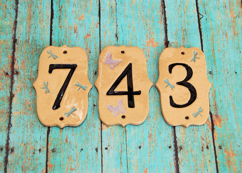 Dragonfly and Butterfly House Numbers