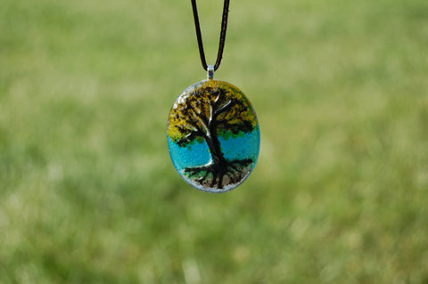 Glass Tree of Life Pendant, Handmade Glass Tree Pendant, Autumn Tree Pendant, Autumn Glass Necklace, Nature Lover Necklace, Fall Jewelry