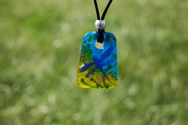 Glass Dragonfly pendant, Handmade Glass Dragonfly Pendant, Turqouise Glass Pendant, Dragonfly Glass Necklace, Nature Lover Necklace