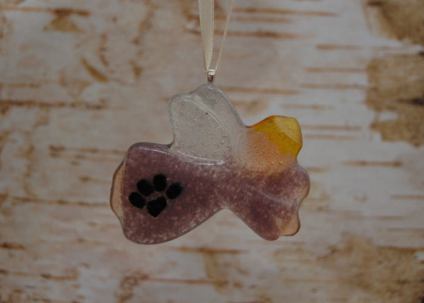 Paw Print Glass Angel