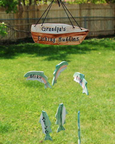 Grandpa's Fishing Buddies Custom Family Ceramic Wind Chime