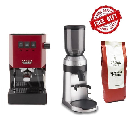 Gaggia Classic Pro Red & FREE WPM ZD15 Grinder