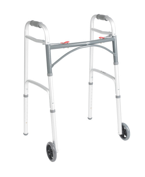 "Deluxe Two Button Folding Walker With 5"" Wheels, Standard Adult"