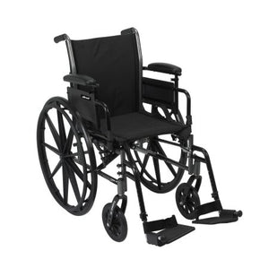 "Lightweight Wheelchair McKesson Dual Axle, Desk Length Arms, Flip Back, Padded, 16"" Seat, 300 lbs. Weight Capacity with Footrests"