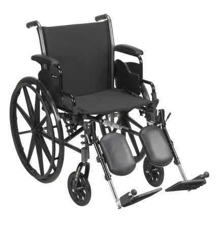 "Lightweight Wheelchair McKesson Dual Axle, Desk Length Arms, Flip Back, Padded, 18"" Seat, 300 lbs. Weight Capacity with Elevating Legrests"