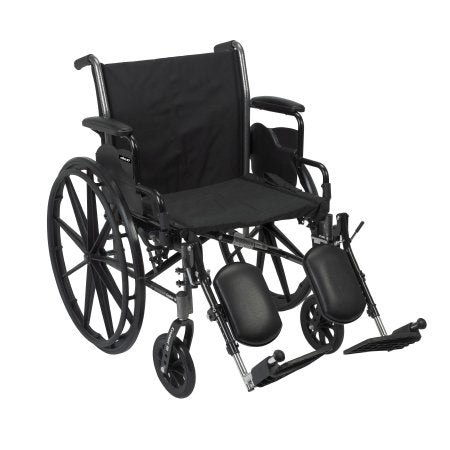"Lightweight Wheelchair McKesson Dual Axle, Desk Length Arms, Flip Back, Padded, 20"" Seat, 300 lbs. Weight Capacity with Elevating Legrests"