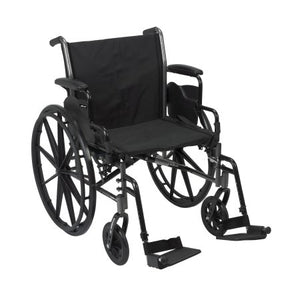 "Lightweight Wheelchair McKesson Dual Axle, Desk Length Arms, Flip Back, Padded, 20"" Seat, 300 lb Weight Capacity with Footrests"