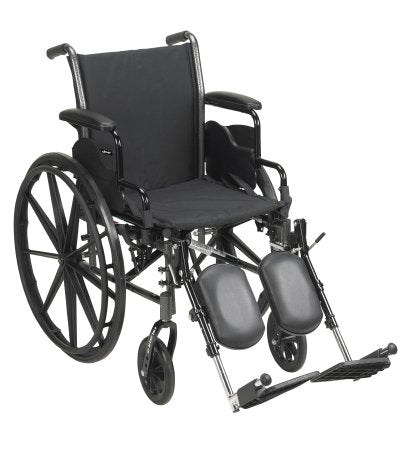 "Lightweight Wheelchair McKesson Dual Axle, Desk Length Arms, Flip Back, Padded,16"" Seat, 300 lbs. Weight Capacity with Elevating Legrests."