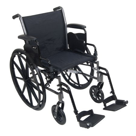 "Lightweight Wheelchair McKesson Dual Axle, Desk Length Arms, Flip Back, Padded, 18"" Seat, 300 lbs. Weight Capacity with Footrests"
