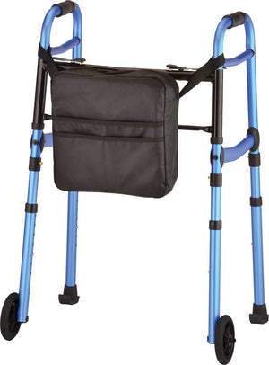 "DESIGNER FOLDING WALKER WITH 5"" WHEELS SET WITH SKIS AND MOBILITY BAG STYLISH BLUE"