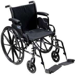 "Lightweight Wheelchair Cruiser III Dual Axle, Full Length Arms, Flip Back, Padded,16"" Seat, 300 lbs. Weight Capacity with Footrests"