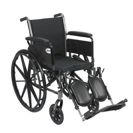 "Lightweight Wheelchair Cruiser III, Dual Axle, Full Length Arms, Flip Back, Padded, 18"" Seat, 300 lbs. Weight Capacity with Elevating Legrests"