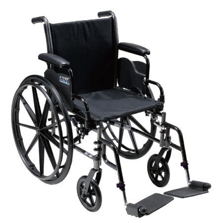 "Lightweight Wheelchair Cruiser III Dual Axle, Full Length Arms, Flip Back, Padded, 18"" Seat Width and a 300 lbs. Weight Capacity with Footrests"
