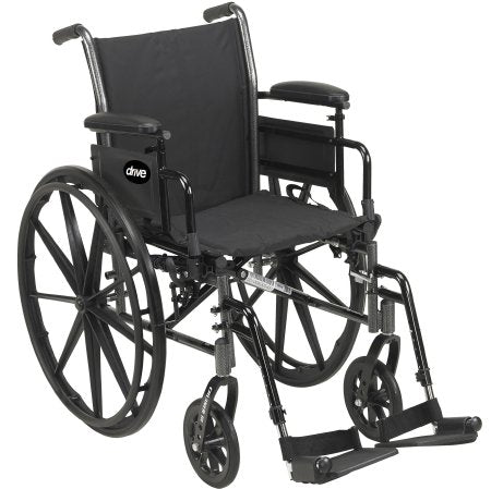 "Lightweight Wheelchair Cruiser III Dual Axle, Desk Length Arms, Flip Back, 20"" Seat, 350 lbs. Weight Capacity with Footrests"