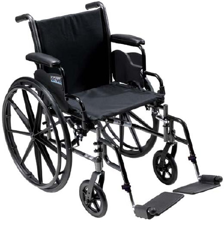 "Lightweight Wheelchair Cruiser III Dual Axle, Full Length Arms, Flip Back, Padded, 20"" Seat, 350 lb Weight Capacity and Elevating Legrests"
