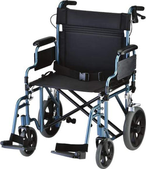 "HEAVY DUTY TRANSPORT CHAIR 22"" WITH HAND BRAKES"
