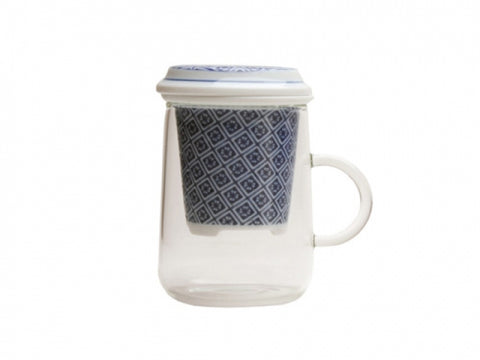 Japanese Ceramic Karakusa Infuser With Tea Glass style 2