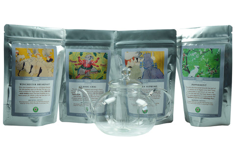 Loose-leaf tea gift set including four of Char's best teas with a glass teapot