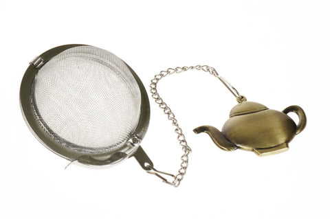 Tea infuser ball on a chain with decorative teapot handle