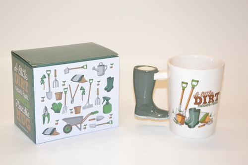'A Little Dirt Never Hurt' Shaped Handle Mug