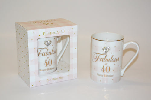 'Fabulous at 40 Happy Birthday' Mug