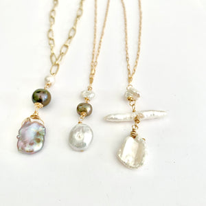 devin triple pearl drop necklace