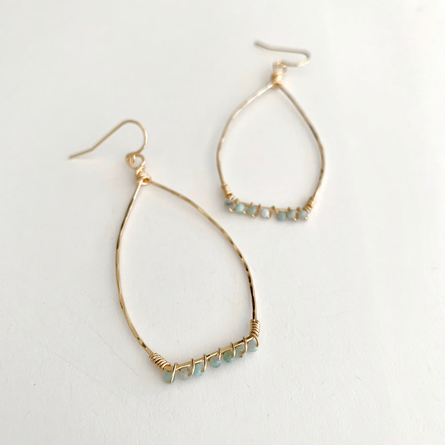 Quinn larimar wrapped hammered hoops