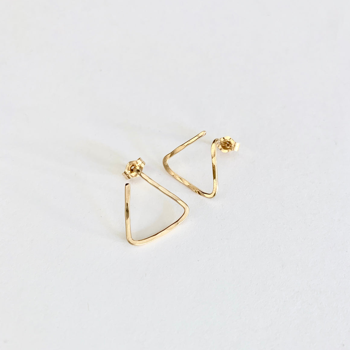Sophie hammered triangle post earrings