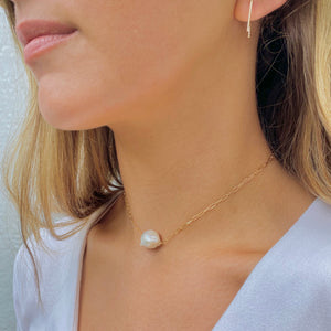 Clara gold paperclip & baroque pearl necklace