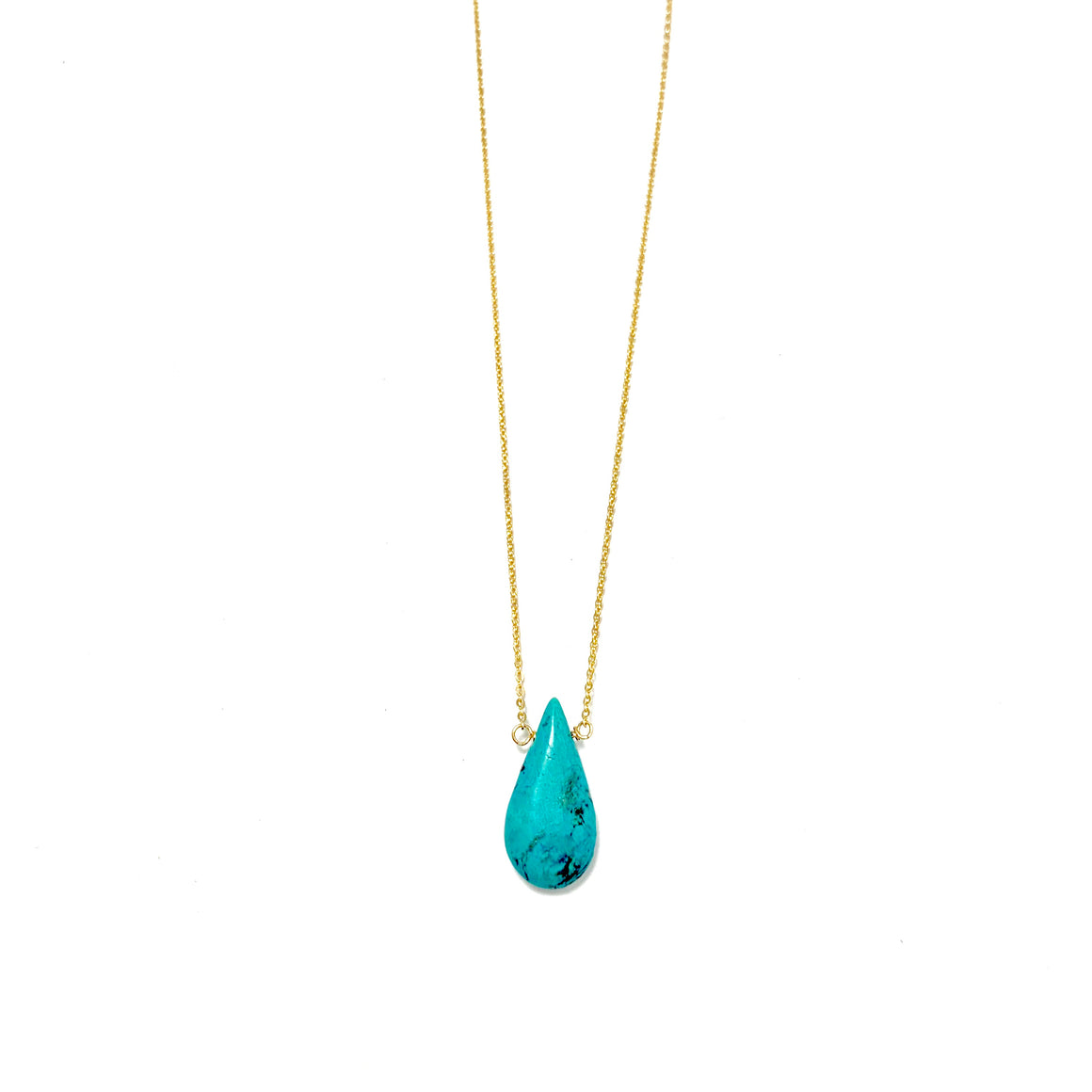 Anne Gold Turquoise Drop Necklace