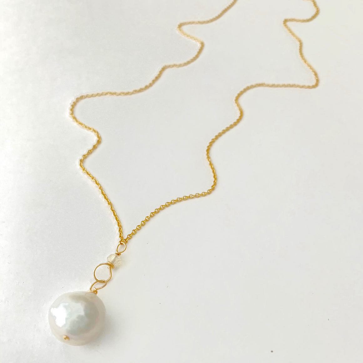 Diane Gold Baroque Pearl and Moonstone Link Necklace