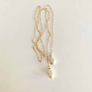 Rebecca Baroque Pearl Lariat Necklace