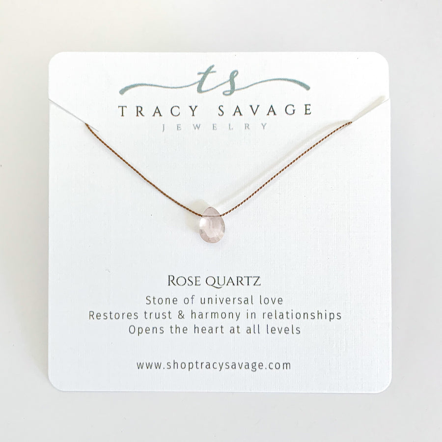 Rose Quartz Silk Neckalce