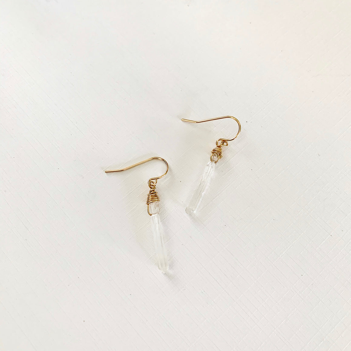 Rowen Crystal Quartz Gold Earrings