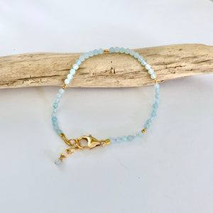 Leona Petite Aquamarine and Gold Bracelet