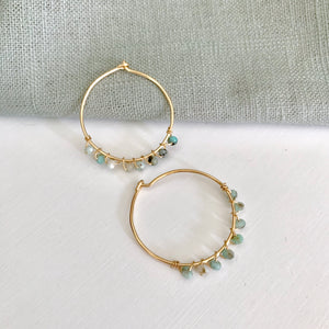 zinna gold & Peruvian opal hoop earrings