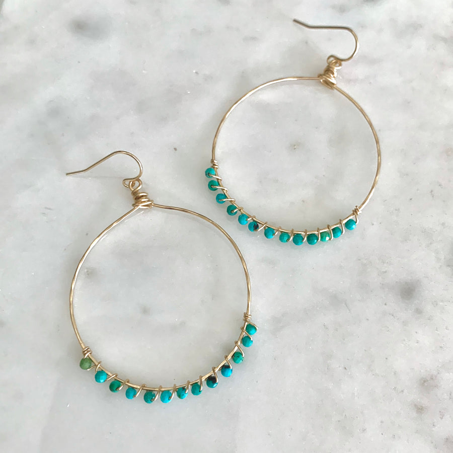 Gracen wrapped gemstone hammered hoop earring
