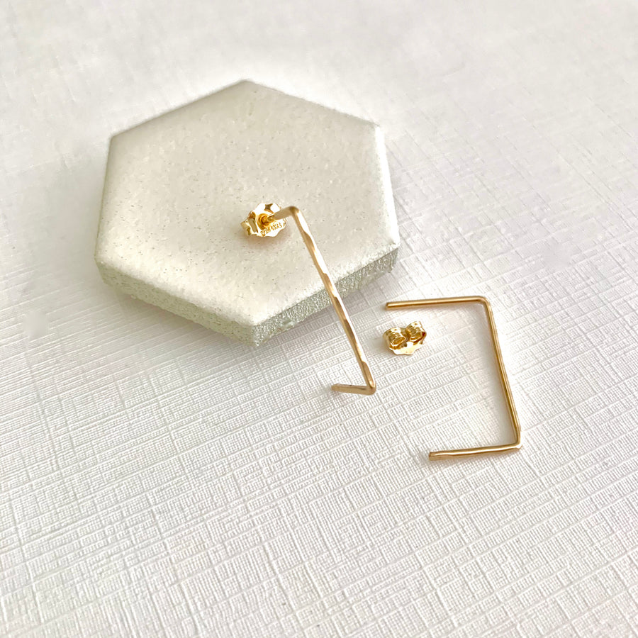 Luisa gold long angular post earring
