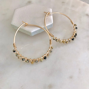 piper petite gemstone wrapped hoops
