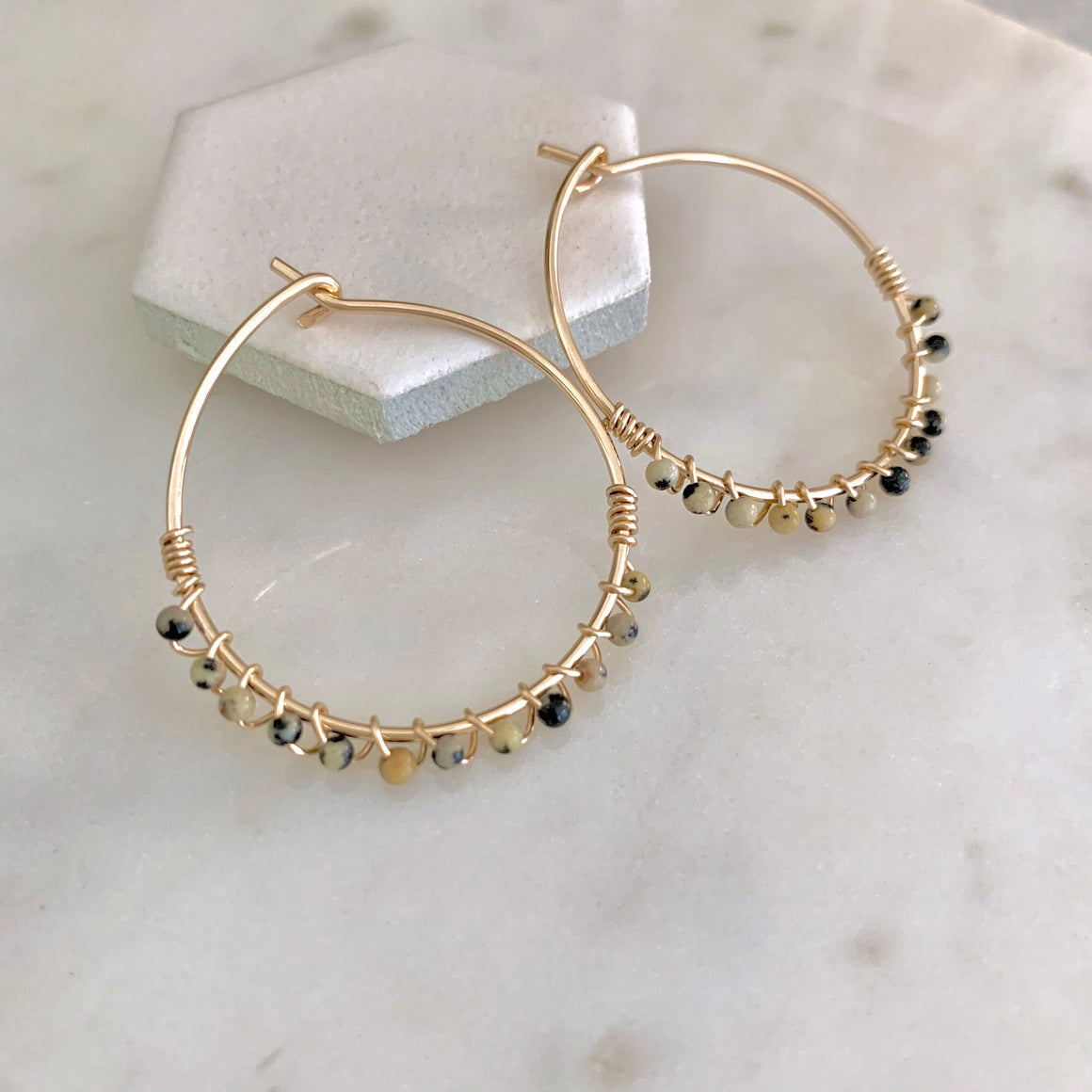 piper petite dalmatian jasper wrapped hoops