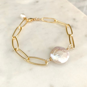 Khloe freshwater coin pearl and large gold link bracelet