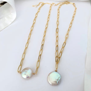 Janet colossal white coin pearl necklace