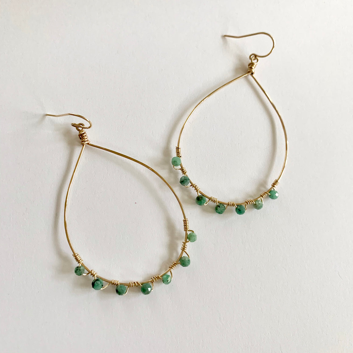 Kat gemstone wrapped hammered hoops